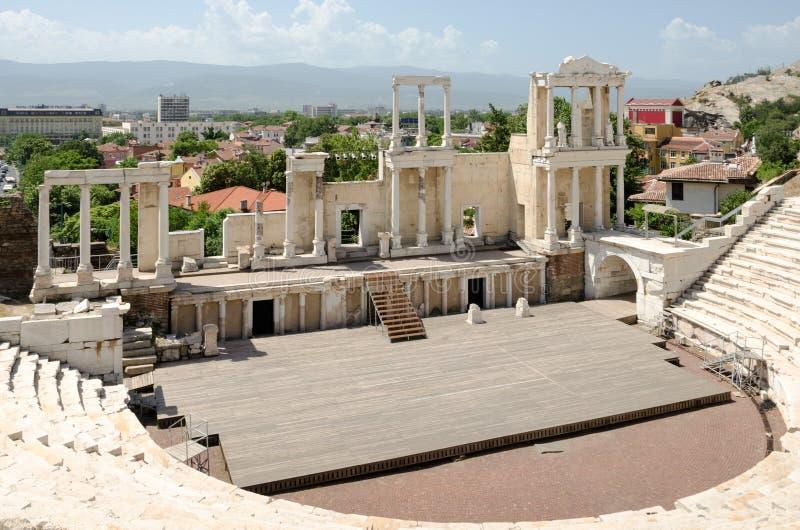 Frammento dell'anfiteatro antico, Filippopoli, Bulgaria fotografie stock