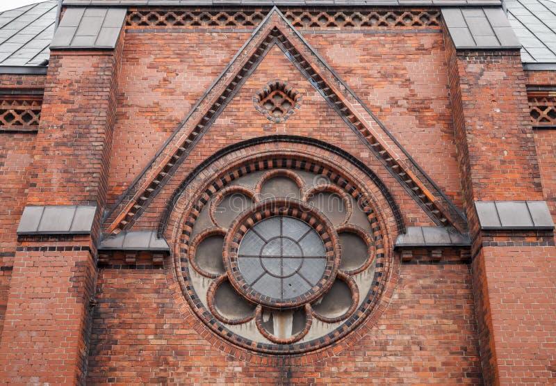 Frammento della facciata della chiesa di St Mary, Flensburg immagine stock