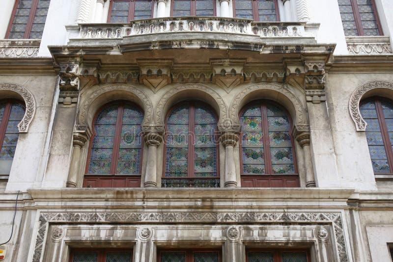 Frammento della facciata di un monumento storico a Lisbona fotografie stock libere da diritti