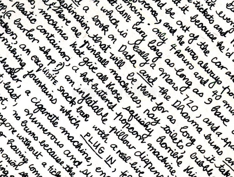 Frammento della scrittura a mano fotografia stock