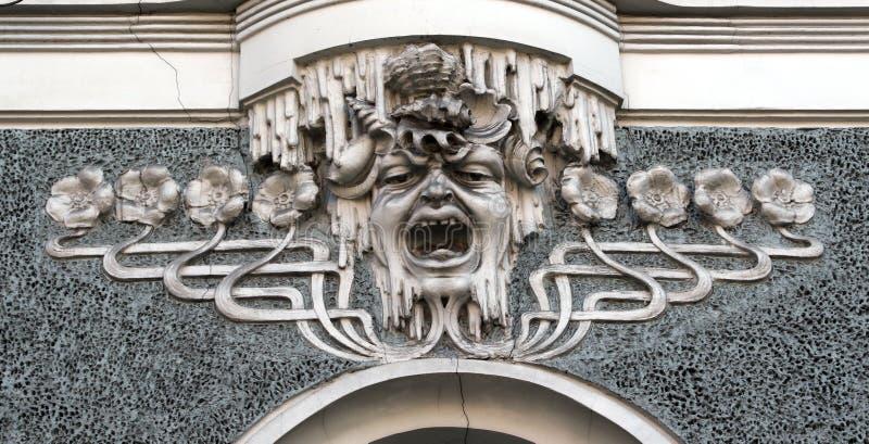 Frammento delle facciate della casa di tempo di Art Nouveau immagine stock