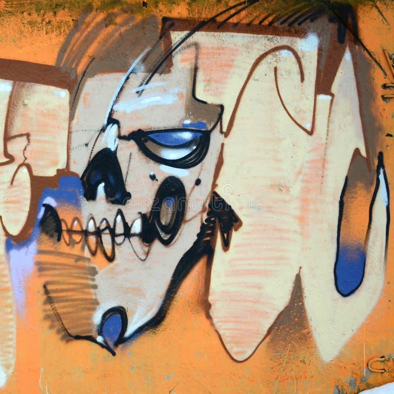 Frammento delle pitture colorate dei graffiti di arte della via con i contorni e di ombreggiatura la fine su illustrazione di stock