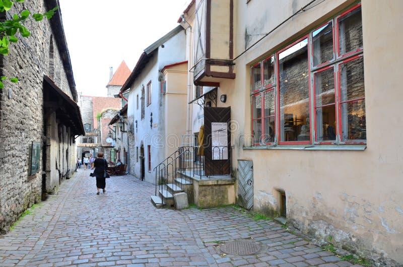 Frammento di Citt? Vecchia - la parte antica di Tallinn, la capitale dell'Estonia immagini stock libere da diritti