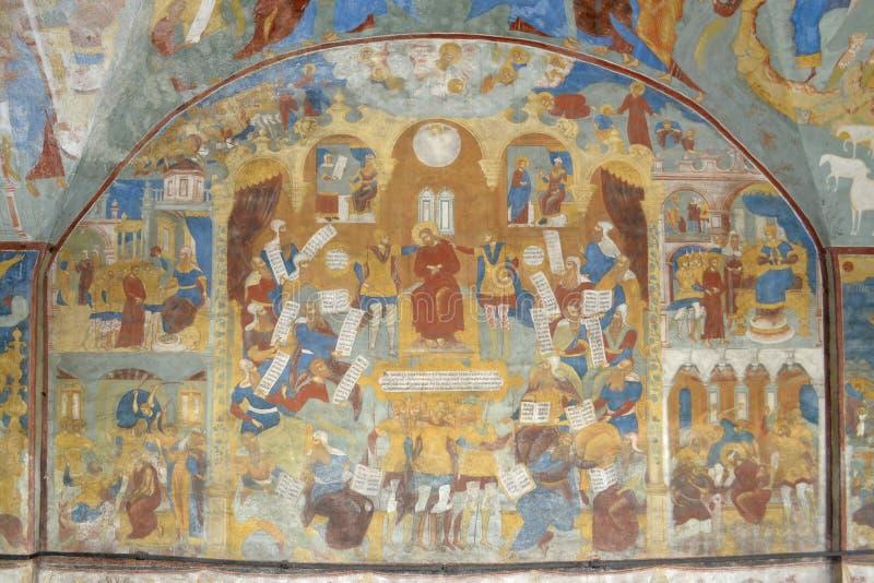 Frammento di pittura nel tempio della decapitazione di San Giovanni Battista nella città di Yaroslavl, Russia immagini stock