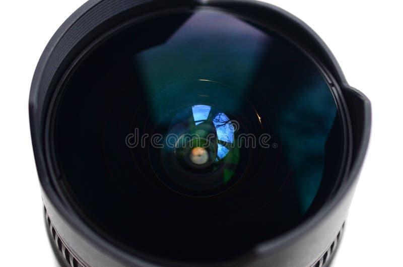 Frammento di un grandangolo per una macchina fotografica moderna di SLR Una fotografia di un fish-eye con una lunghezza focale mi immagine stock libera da diritti