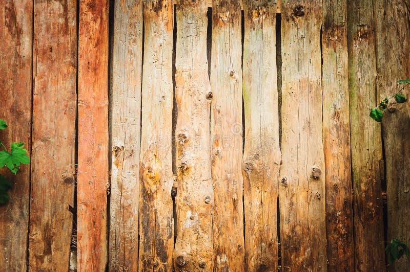 Frammento di un primo piano moderno marrone di legno del recinto Struttura di legno Recinto di legno Ideas di progettazione moder immagini stock