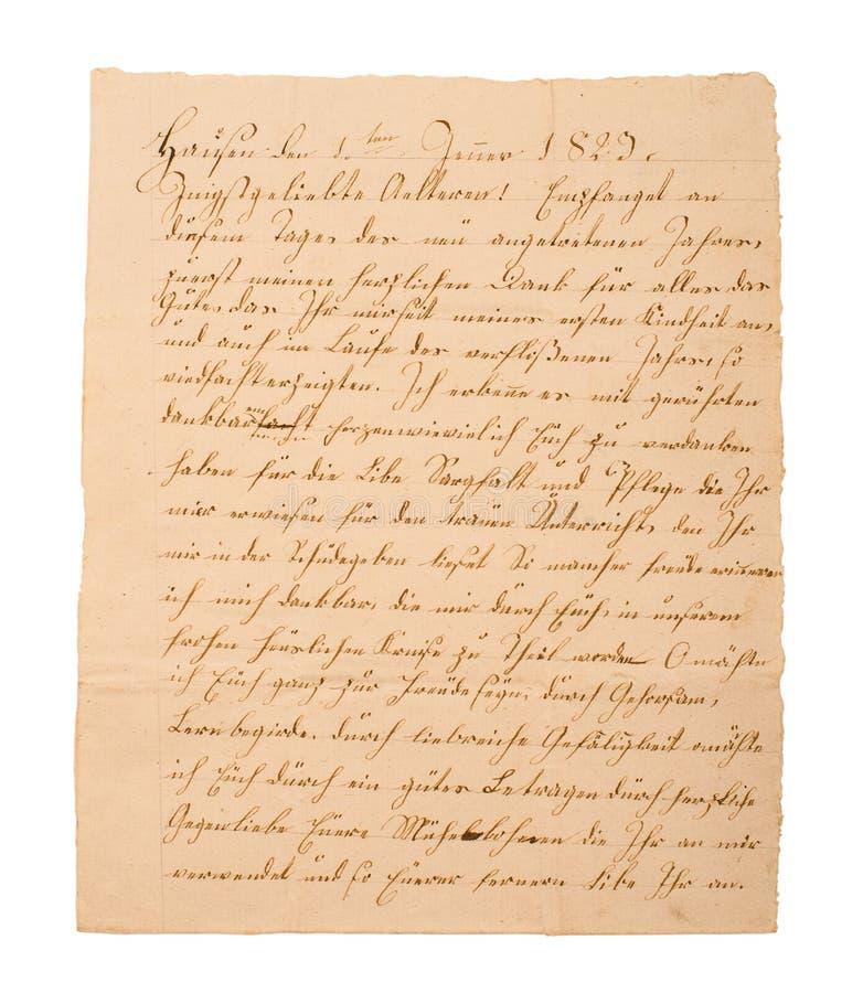 Frammento di vecchia lettera scritta a mano fotografie stock