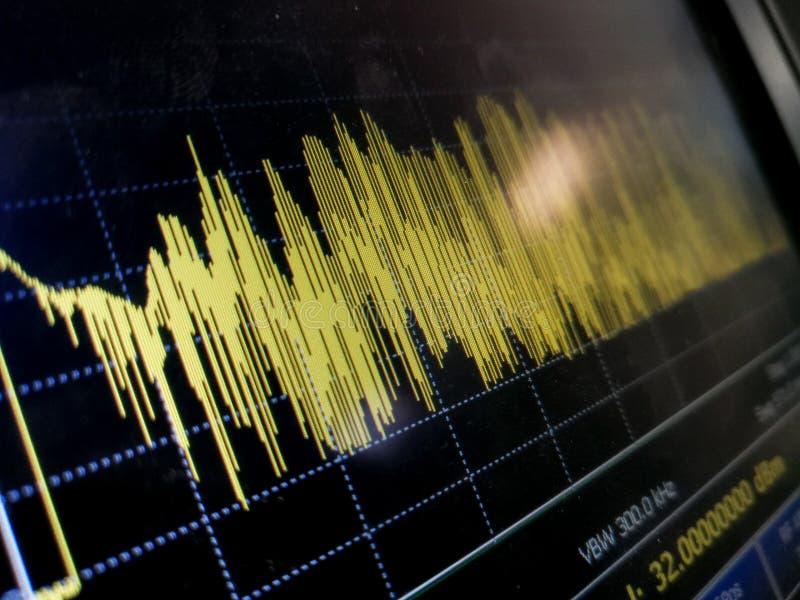 Frammento LCD astratto dei risultati di misura dell'analizzatore di spettro immagini stock