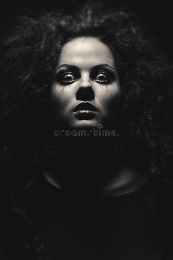 Framsida av den galna kvinnan fotografering för bildbyråer