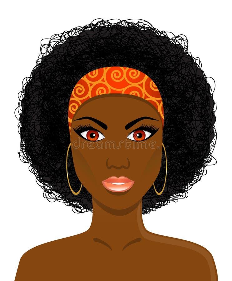 Framsida av den härliga afrikanska svarta kvinnan vektor illustrationer