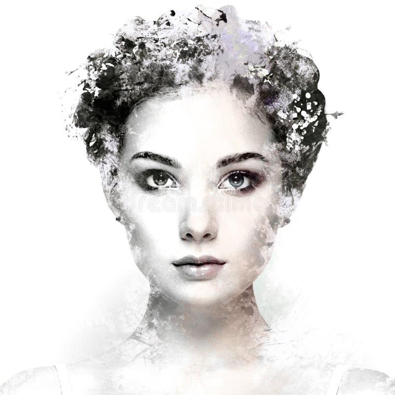 Framsida av den härliga kvinnan som dekoreras med blommor royaltyfri bild