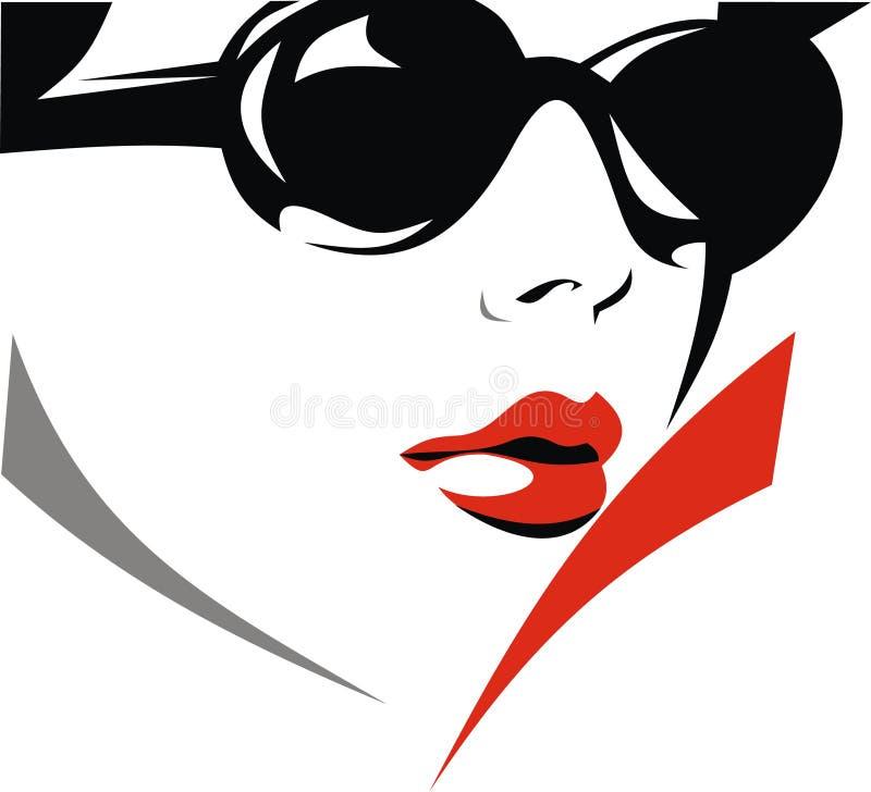 Framsida av den trevliga flickan med solglasögon royaltyfri illustrationer