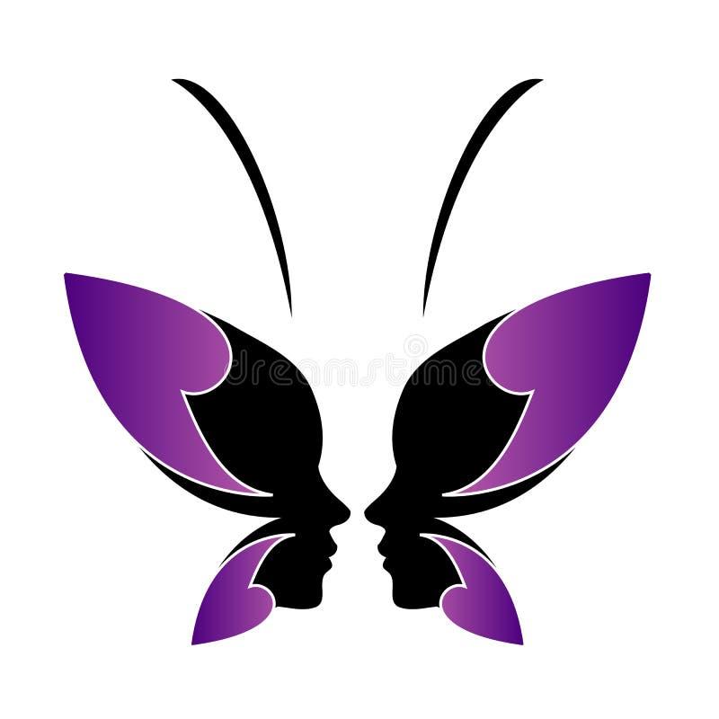 Framsida av en dam och en fjäril royaltyfri illustrationer