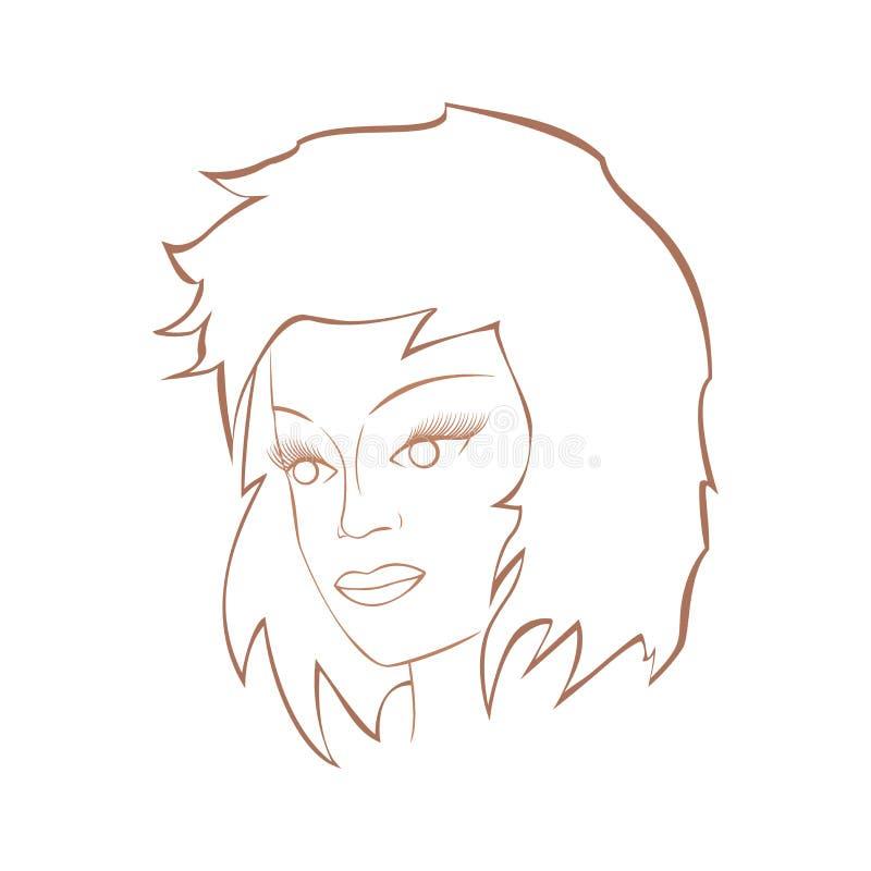 Framsida av en gullig flicka royaltyfri illustrationer