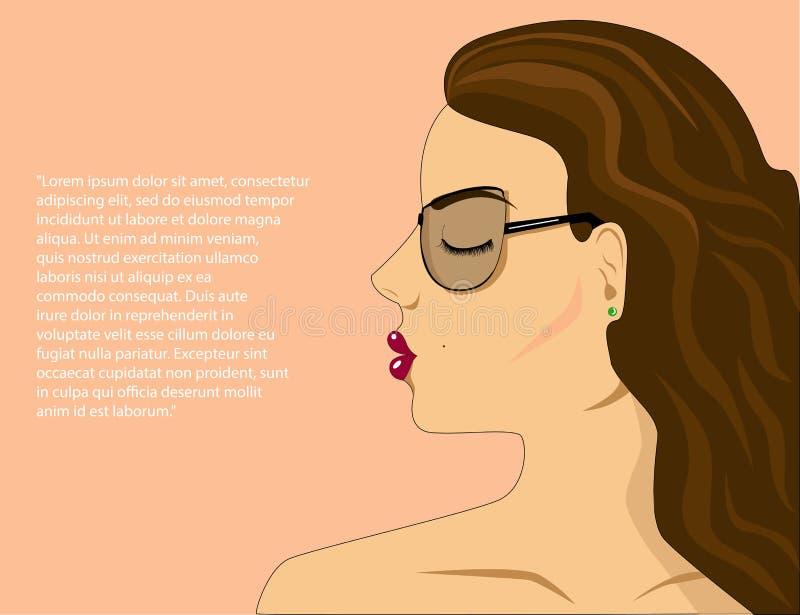 Framsida av en härlig flickasidosikt vektor illustrationer