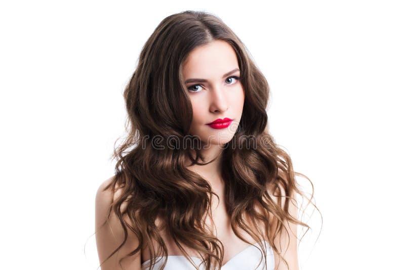 Framsida av en härlig ung flicka med ett rent slut för ny framsida upp arkivbild