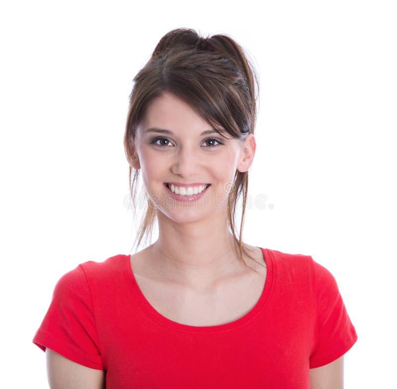Framsida av en isolerad lycklig ung kvinna. royaltyfri fotografi