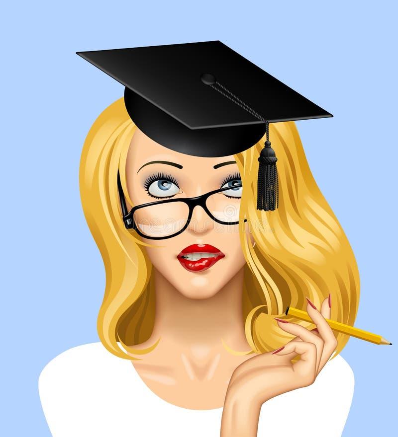 Framsida av en nätt blond flicka i exponeringsglas som ser upp med en gradua stock illustrationer