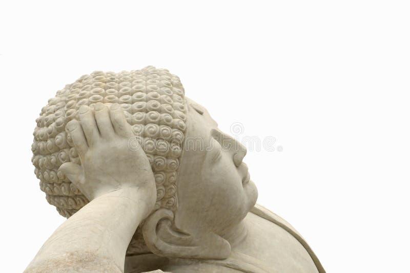 Framsida av en vit marmorZen Buddha staty, Kina royaltyfri fotografi