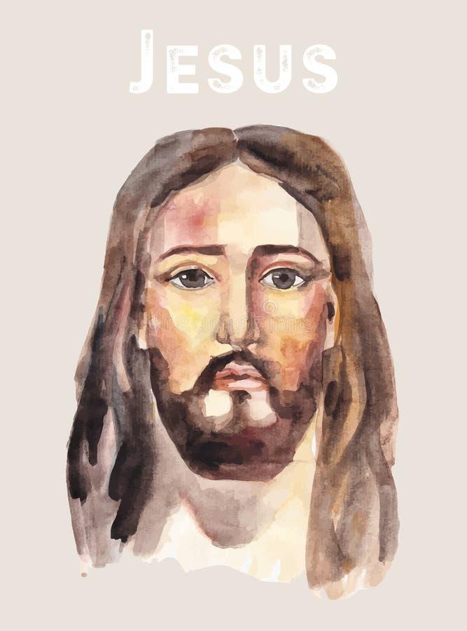 Framsida av Jesus Christ, låg poly vattenfärgvektorillustration royaltyfri illustrationer