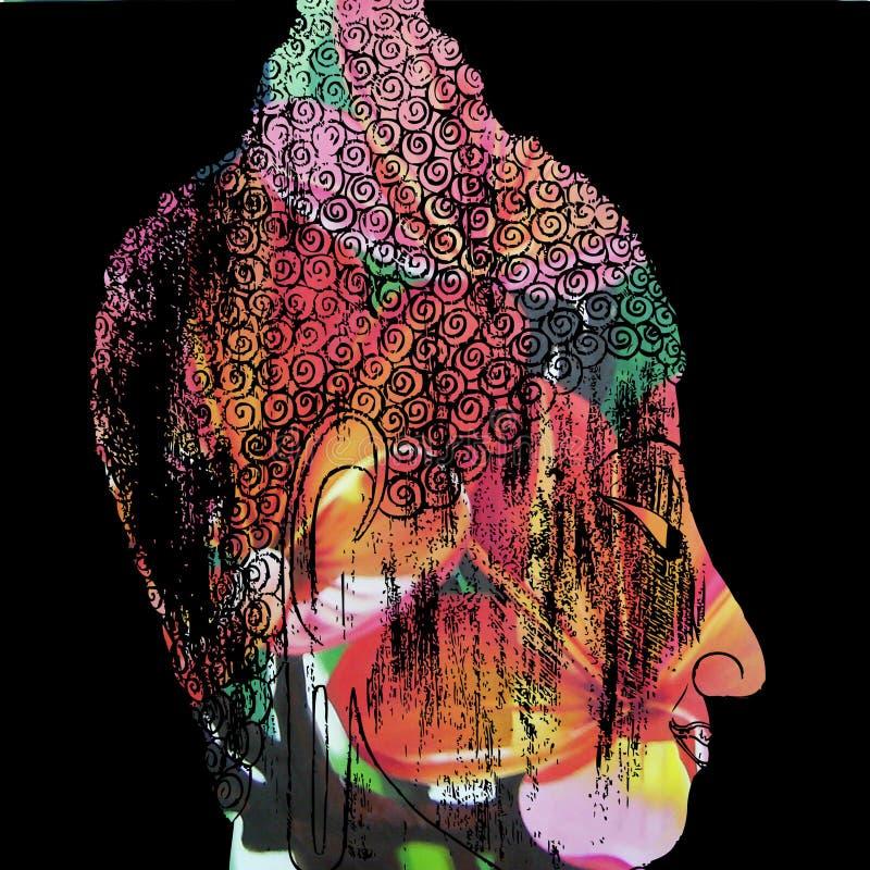 Framsida av meditationen för buddha illustrationmålning royaltyfri foto