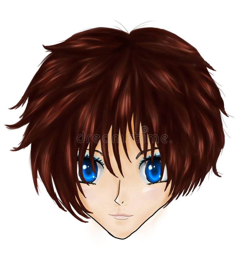 Framsida för Animebrunettflicka vektor illustrationer