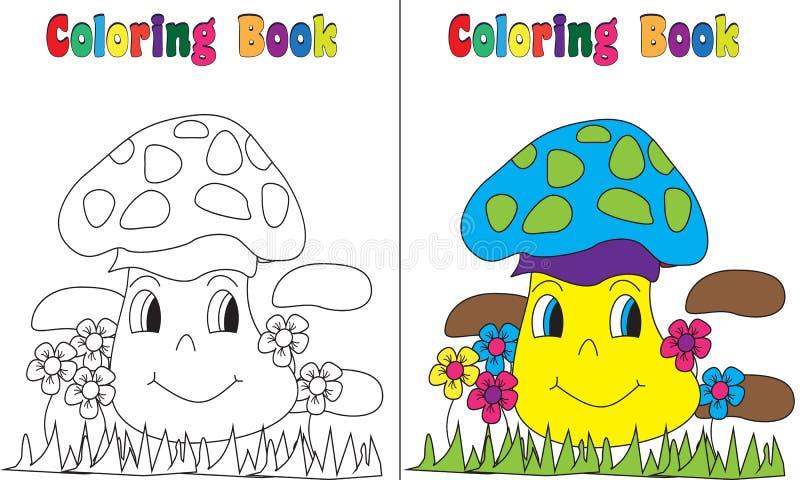 Framsida för champinjon för färgläggningbok vektor illustrationer
