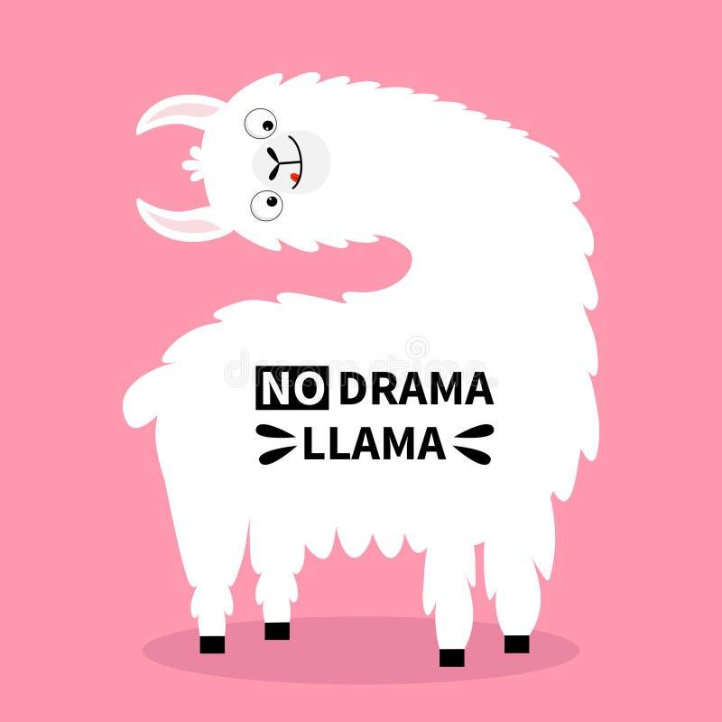 Framsida för huvud för lamaalpaca vändande, tunga Ingen drama Roligt kawaiitecken för gullig tecknad film Barnsligt behandla som  vektor illustrationer
