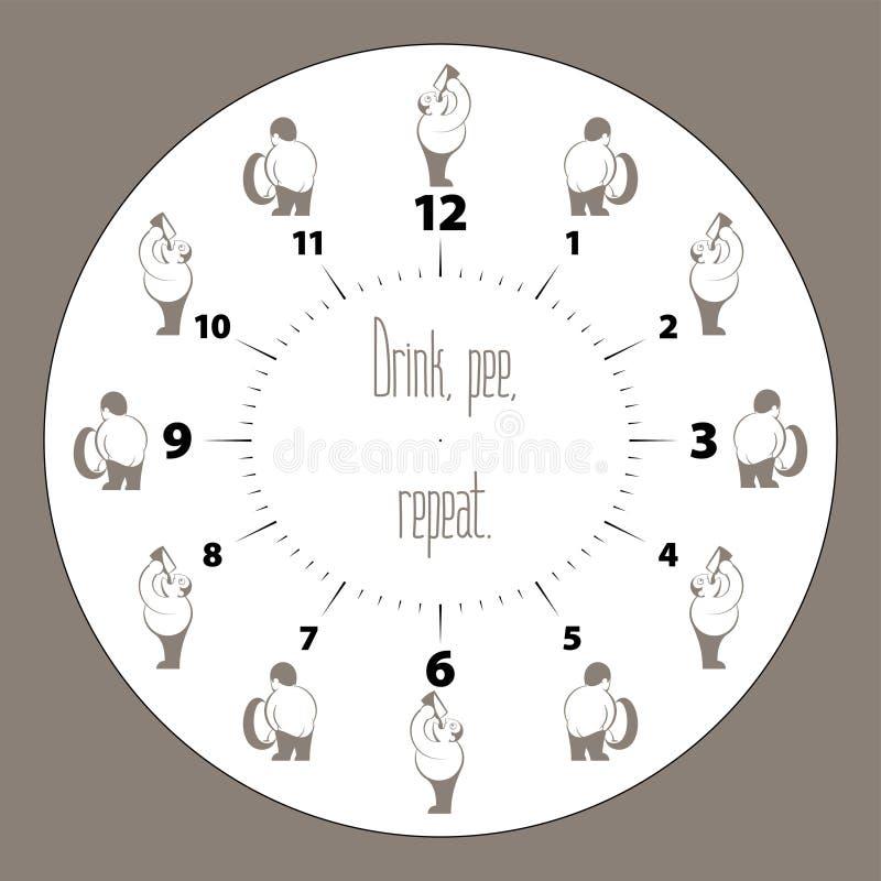 Framsida för klocka för drinkölPee Repeat Retro Inked Drawing man vektor illustrationer