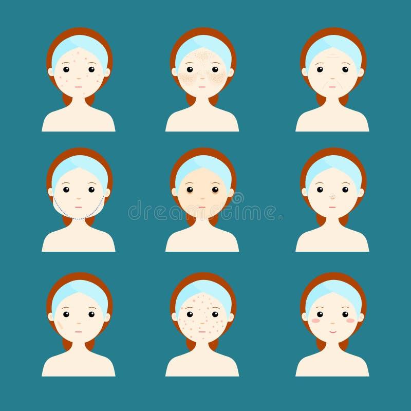Framsida för kvinnor för variationsproblemhud stock illustrationer
