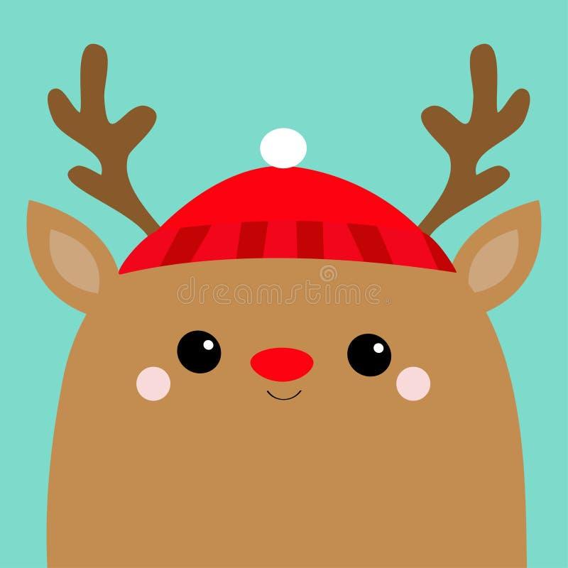 Framsida för Raindeer hjorthuvud Röd hatt, näsa, horn glad jul lyckligt nytt år Den gulliga tecknad filmkawaiien behandla som ett vektor illustrationer