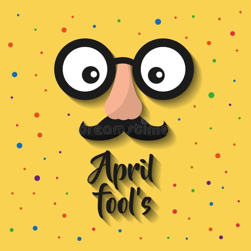 Framsida för tecknad film för April dumbommar med roliga exponeringsglas och mustaschen royaltyfri illustrationer