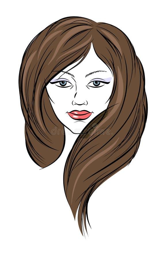 Framsida för ung kvinna med brunt långt hår vektor illustrationer