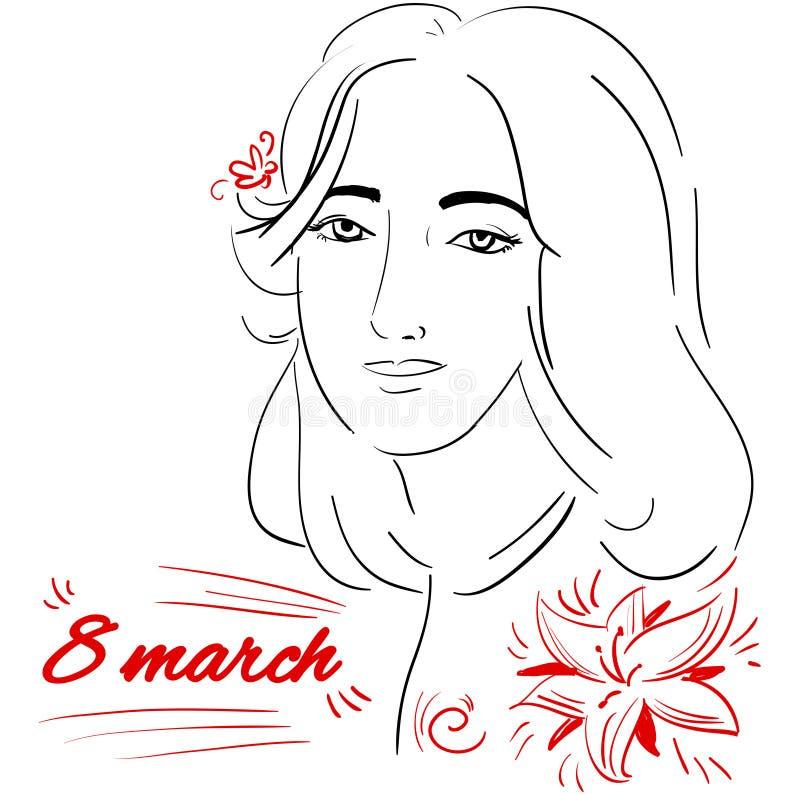 Framsida för vektorklottersymbol av dagen för ` s för kvinna för flickahälsningkort stock illustrationer