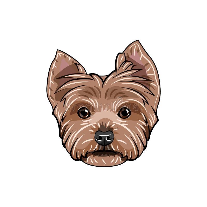 Framsida för Yorkshire terrier Hundhuvud ståendeterrier yorkshire Hundavel vektor vektor illustrationer