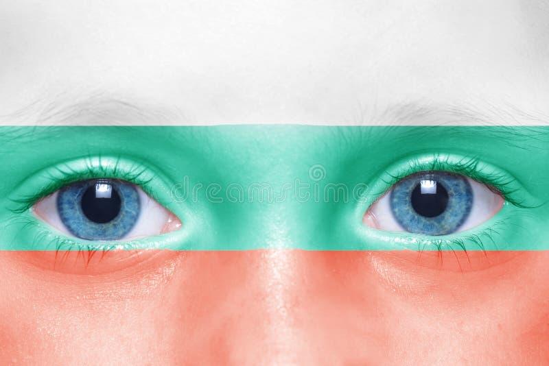 framsida med den bulgarian flaggan arkivfoton