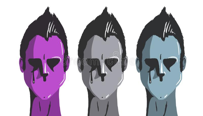 Framsida tre utan munnen royaltyfri illustrationer