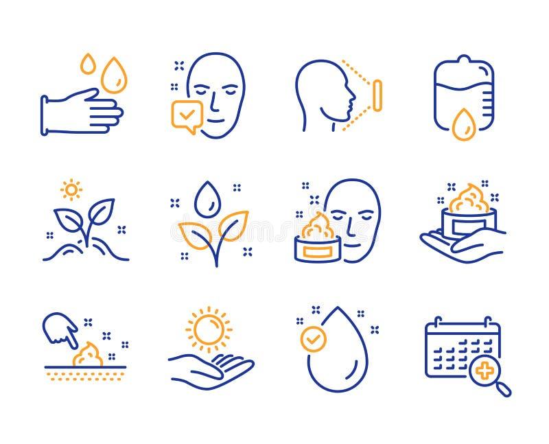 Framsidakräm, accepterad och uppsättning för symboler för hudomsorg framsida Tappa räknaren, solskydd och gummihandsketecken vekt vektor illustrationer