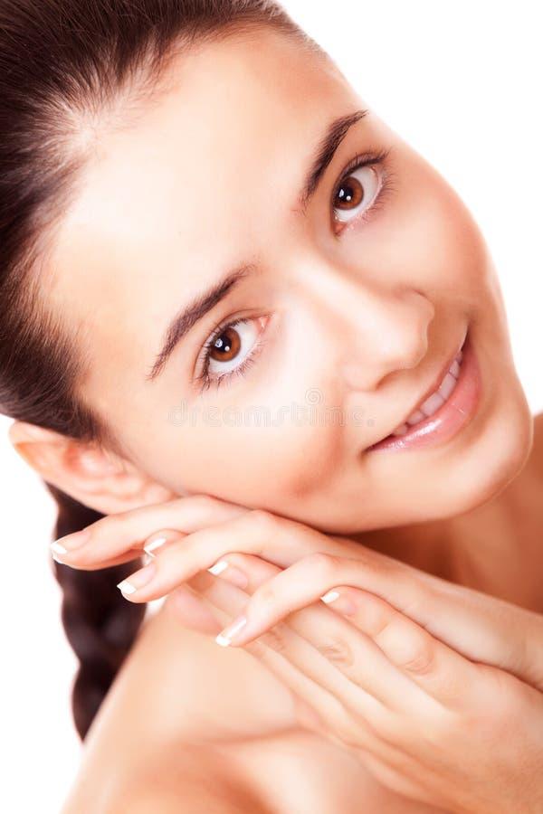 Framsidakvinna med sund ren hud royaltyfri fotografi