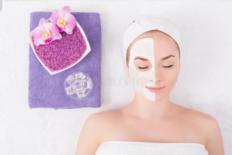 Framsidamaskering, brunnsortskönhetbehandling, skincare royaltyfri bild