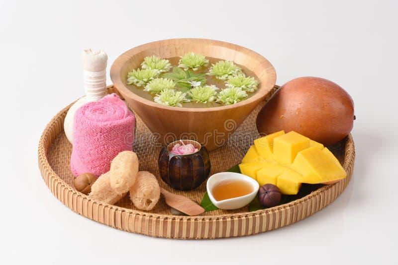 Framsidamaskering med mango och honung royaltyfria bilder