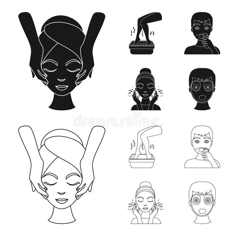 Framsidamassage, fotbad som rakar, framsidatvagning Symboler för samling för uppsättning för hudomsorg i svart, symbol för översi vektor illustrationer