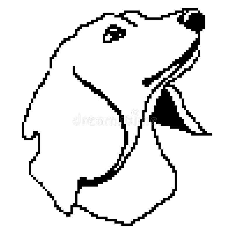 Framsidan för jaspisavelhunden tystar ned konturn som dras av fyrkanter, PIXEL Översikt av en hundståendejaspis också vektor för  vektor illustrationer