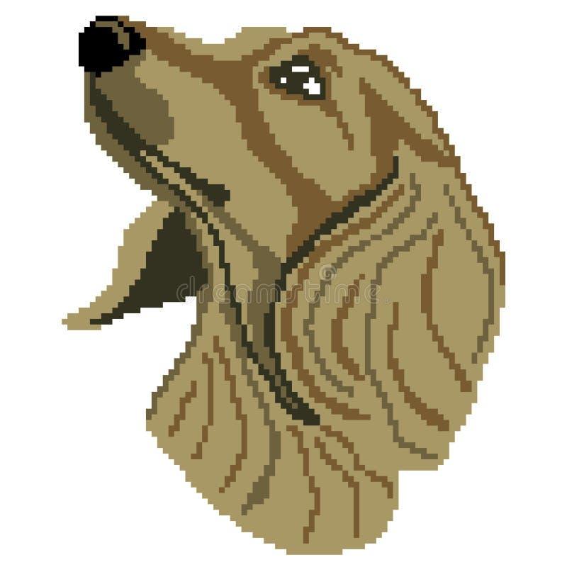 Framsidan för jaspisavelhunden tystar ned konturn som dras av fyrkanter, PIXEL Stående av en hundjaspis också vektor för coreldra royaltyfri illustrationer
