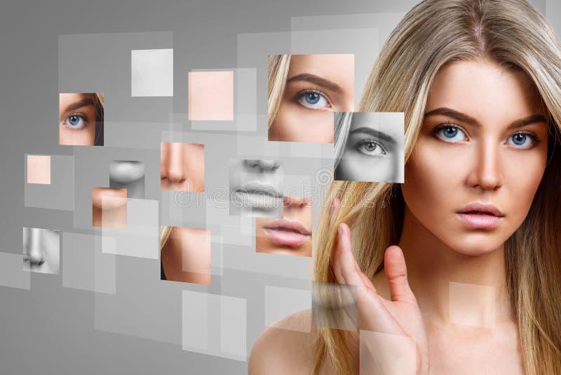 Framsidan för kvinna` s samlade från olika delar arkivfoton