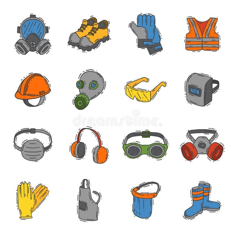 Framsidan för symboler för bransch för säkerhet för vektorskyddskläder googlar den skyddande och hjälmen för kropputrustningkonst vektor illustrationer