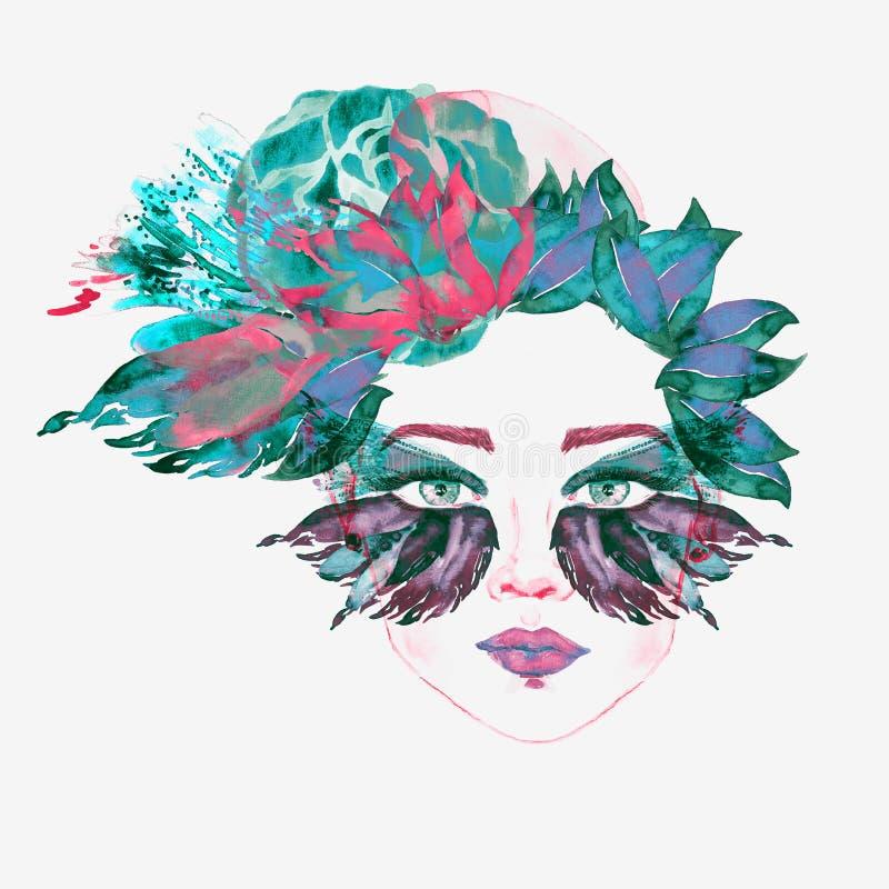 Framsidan med den gröna fen synar med makeup, turkos, och ögonskuggor för form för rosa färgfjärilsvingar ser som maskeringen, bl stock illustrationer
