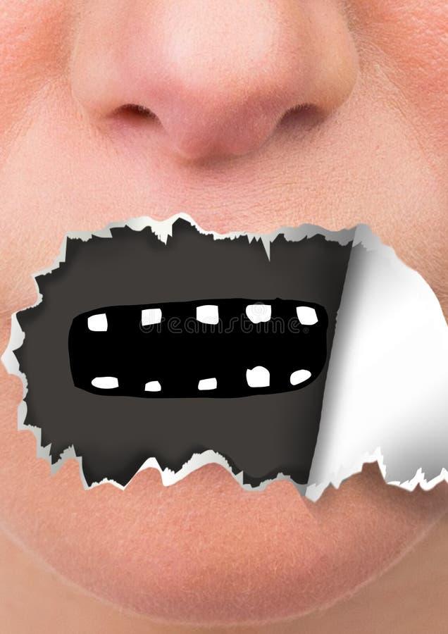 Framsidan med sönderrivet papper på mun och tecknade filmen skvallrar arkivfoton