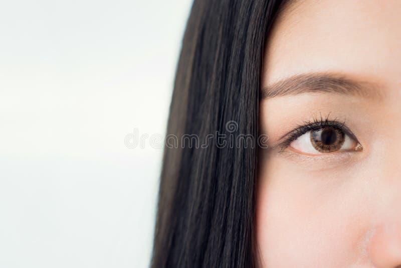 Framsidan och ögat av en kvinna med bra vård- och rosa kanter för hud Ögon ser framåtriktat royaltyfri foto