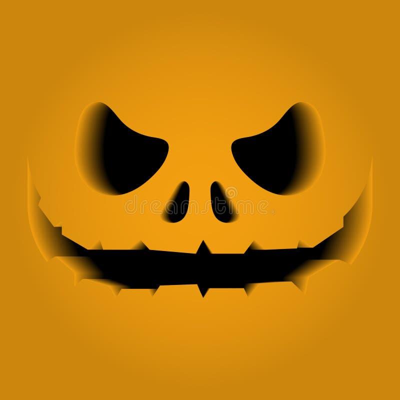Framsidasärdrag som snidas på en pumpa Volymen, 3D Fasa skräck, nöd halloween Det svarta mellanrummet royaltyfri illustrationer